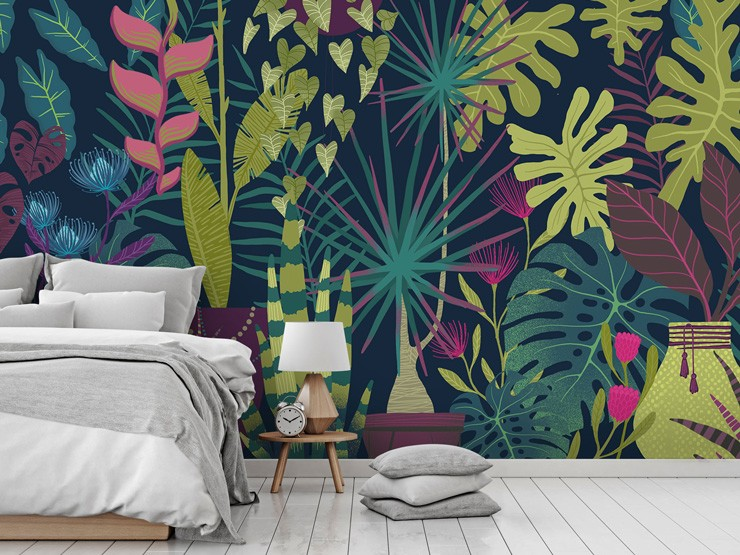 Floral jungle wallpaper in bedroom by Michael Zindell