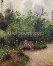 A Corner of the Garden at the Hermitage, Pontoise, 1877 (oil on canvas) wallpaper mural thumbnail