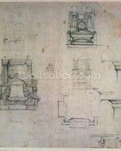 Inv. 1859 6-25-545. R. (W. 25) Designs for tombs (red chalk) wallpaper mural thumbnail