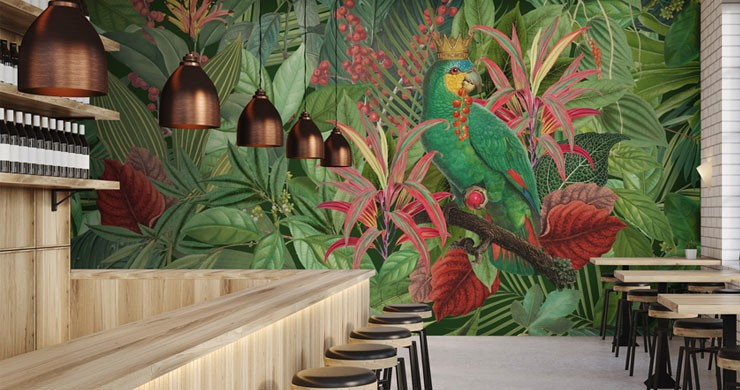 illustrated colourful parrot in jungle wallpaper in trendy restaurant