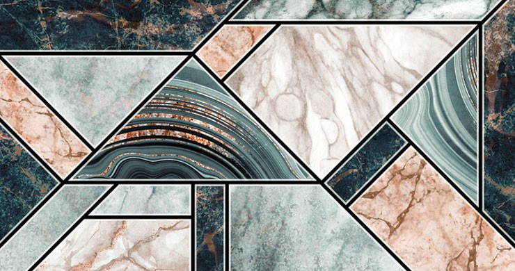 blush pink and navy marble tiles with touches of rose gold metallic colours wallpaper
