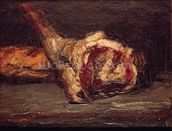Still Life of a Leg of Mutton and Bread, 1865 (oil on canvas) wall mural thumbnail