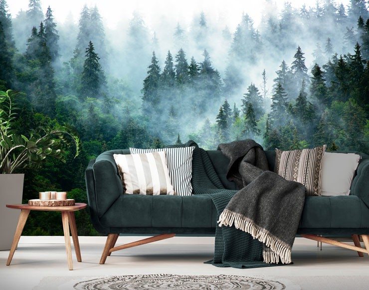 misty forest wallpaper in trendy grey and green living room