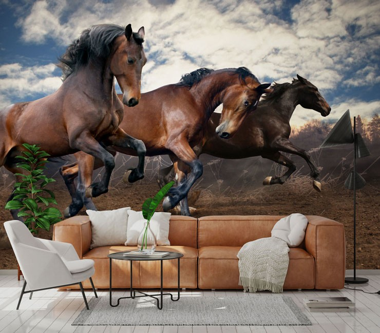 herd of brown wild horses leaping in air in tan and cream lounge