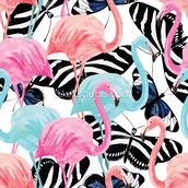 Flamingos with Butterflies wallpaper mural thumbnail