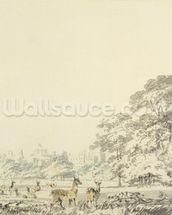 Windsor Castle and Park with Deer (w/c over pencil on paper) mural wallpaper thumbnail