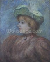 Portrait of Mademoiselle Dieterle (pastel on paper) wall mural thumbnail