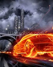 Fire Car wall mural thumbnail