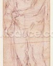Study for Adam in The Expulsion, 1508-12 (charcoal on paper) (recto) wallpaper mural thumbnail