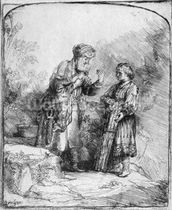 Abraham and Isaac, 1645 (etching) (b/w photo) wallpaper mural thumbnail