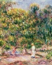The woman in white in the garden of Les Colettes, 1915 wall mural thumbnail