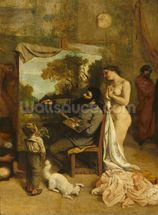 The Artists Studio, a Real Allegory, detail of the painter and his model, 1854-55 (oil on canvas) mural wallpaper thumbnail