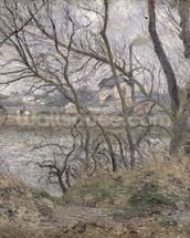 The Banks of the Oise, near Pontoise, Cloudy Weather, 1878 (oil on canvas) wall mural thumbnail