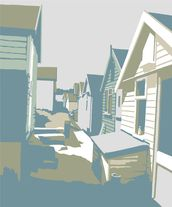 Mudeford Beach Huts mural wallpaper thumbnail