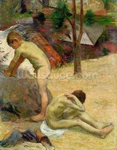 Breton Boys Bathing, 1888 (oil on canvas) (see also 244974) wall mural thumbnail