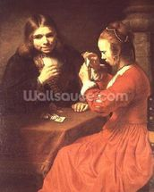 A Young Man and a Girl Playing Cards (oil on canvas) mural wallpaper thumbnail