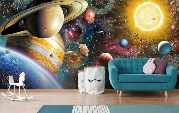 realistic space and planet wallpaper in cute child's living room