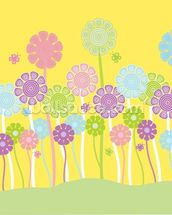 Pastel Flowers Nursery mural wallpaper thumbnail