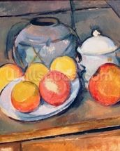 Straw-covered vase, sugar bowl and apples, 1890-93 (oil on canvas) (also see 287555) mural wallpaper thumbnail