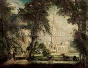 Salisbury Cathedral from the Bishops Grounds, c.1822-23 (oil on canvas) wall mural thumbnail