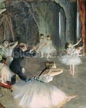 The Rehearsal of the Ballet on Stage, c.1878-79 (pastel on paper) wallpaper mural thumbnail