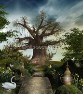 Fabulous garden wallpaper mural thumbnail