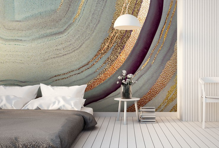 gold effect colourful swirl mural in trendy bedroom