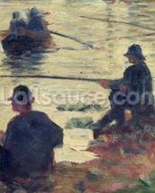 Anglers, Study for La Grande Jatte, 1883 (oil on panel) wall mural thumbnail
