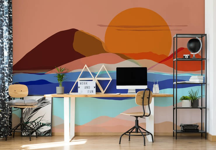 orange, peach and blue abstract desert landscape wall mural in home office