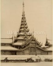 The Myei-nan or Main Audience Hall in the palace of Mandalay, Burma, late 19th century (albumen print) (b/w photo) wall mural thumbnail