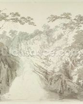 Landscape with Waterfall, c.1796 (graphite and wash on paper) wall mural thumbnail