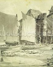 Fishermans Cottage, Dover, 1790s (pencil & grey wash on laid paper) mural wallpaper thumbnail