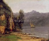 Vue du Lac Leman, c.1873-77 (oil on canvas) mural wallpaper thumbnail