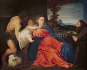 Virgin and Infant with Saint John the Baptist and Donor (oil on canvas) wallpaper mural thumbnail