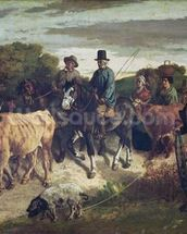 The Peasants of Flagey Returning from the Fair, 1850-55 (oil on canvas) wall mural thumbnail