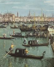 Gondoliers near the Entrance to the Grand Canal and the church of Santa Maria della Salute, Venice (oil on canvas) (detail of 156534) wall mural thumbnail