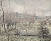 Snow Effect at Eragny, 1894 (oil on canvas) wallpaper mural thumbnail