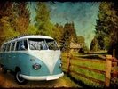 VW Camper Blue wall mural thumbnail
