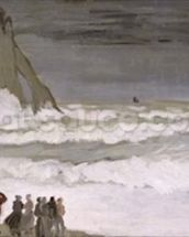 Rough Sea at Etretat, 1868-69 (oil on canvas) wallpaper mural thumbnail