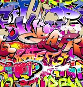 Hip Hop Purple Graffiti wallpaper mural thumbnail