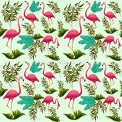 Pink Flamingo Pattern wall mural thumbnail