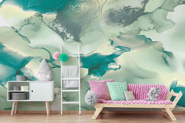 teal, white and grey psychedelic wallpaper in child's pink decor bedroom
