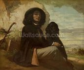 Courbet with his Black Dog, 1842 (oil on canvas) mural wallpaper thumbnail