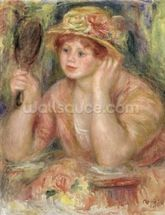 Woman with a Mirror, c.1915 (oil on canvas) mural wallpaper thumbnail