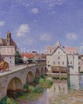 The Bridge at Moret, 1893 (oil on canvas) mural wallpaper thumbnail