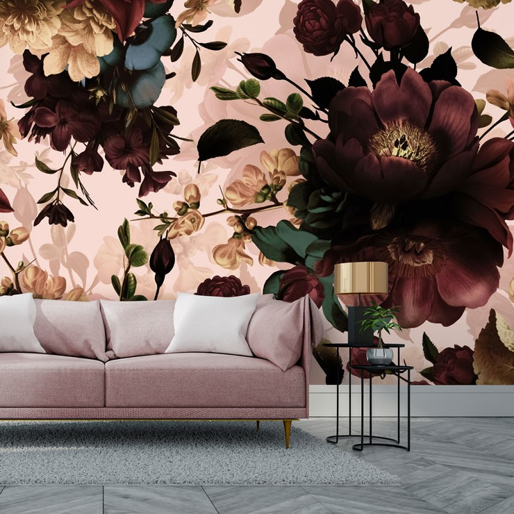 burgundy flowers on blush pink backdrop in stylish living room
