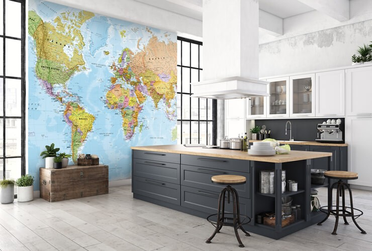 world_map_mural_in_kitchen