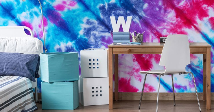 purple, blue and white tie dye wallpaper in students room