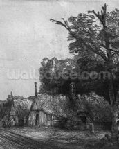 Landscape with Three Cottages, 1650 (etching) (b/w photo) mural wallpaper thumbnail