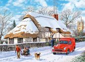 Delivering A Christmas Parcel wall mural thumbnail